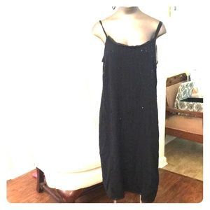 NWT Eileen Fisher black silk glass bead dress